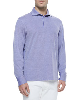 Long-Sleeve Pique-Knit Polo Shirt, Lilac