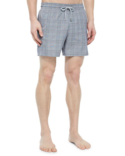 Morio Check-Pattern Swim Trunks, Navy
