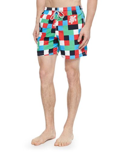 Moorea Check Turtle-Print Swim Trunks, Multi