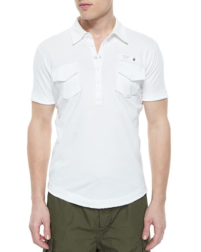 Short-Sleeve Jersey Polo Shirt, White