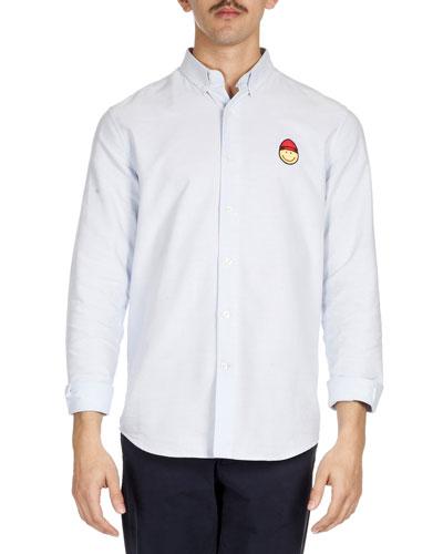 Smiley-Face-Patch Sport Shirt, Light Blue