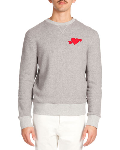 Heartbreaker-Patch Crew Sweatshirt, Heather Gray