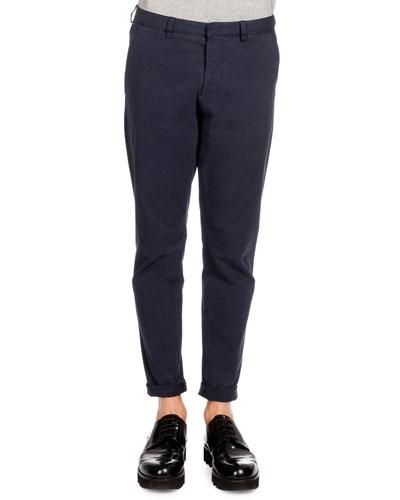 Tapered Cotton Chino Pants, Navy