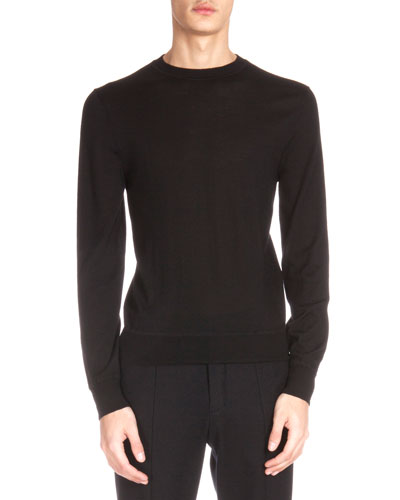 Leather Shoulder Detail Crewneck Sweater, Black
