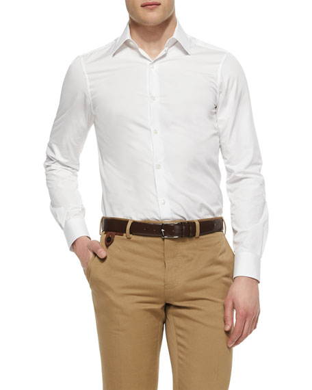 Berluti Basic Woven Sport Shirt, White