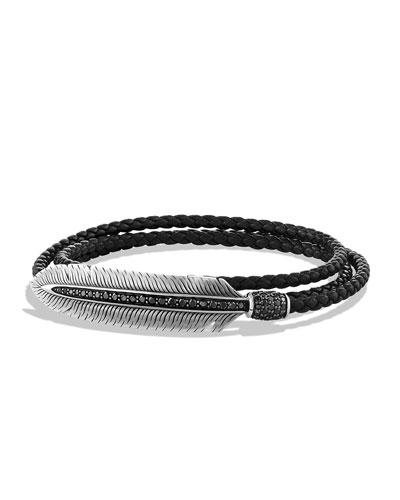 Men's Feather Triple-Wrap Bracelet, Black