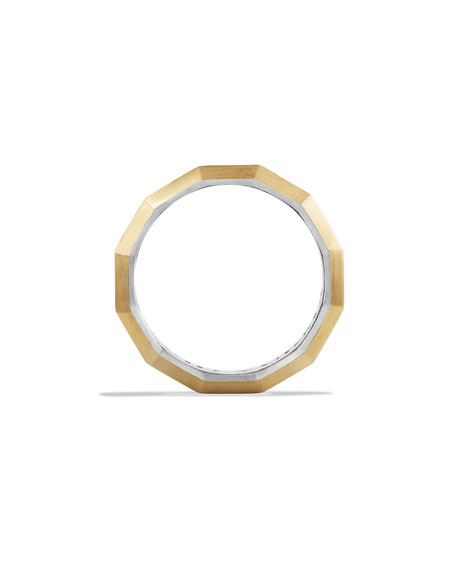 Faceted Metal Band Ring with Gold