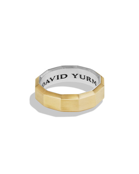 David Yurman Faceted Metal Band Ring with Gold