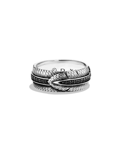 Feather Band Ring with Black Diamonds