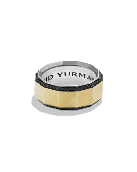 David Yurman Faceted Metal Band Ring with Pave