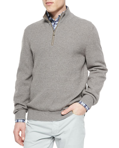 Waffle-Knit Quarter-Zip Pullover, Beige