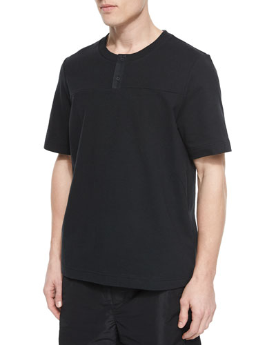 Short-Sleeve Woven Henley Tee, Black