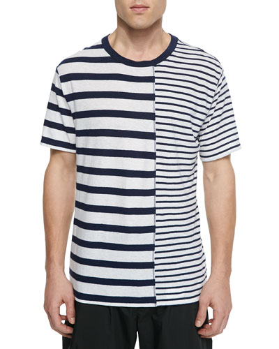 Mixed-Stripe Short-Sleeve Tee