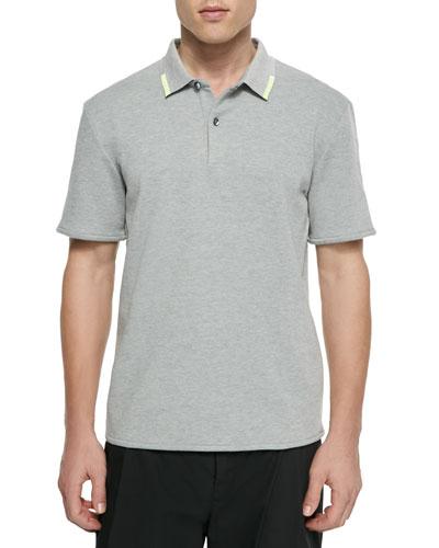 Short-Sleeve Polo Shirt, Gray