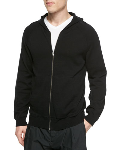 Cotton Zip Hoodie, Black