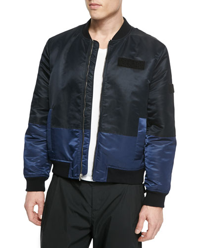 Color-Paneled Jacket, Black/Blue