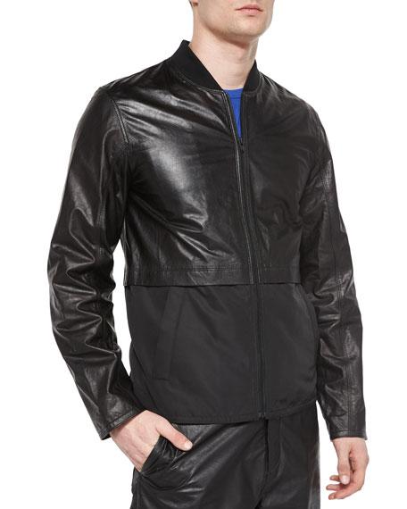 d95e2e18c Leather/Nylon Mix Bomber Jacket Black