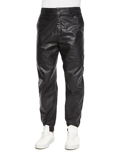 Leather/Nylon Mix Track Pants, Black
