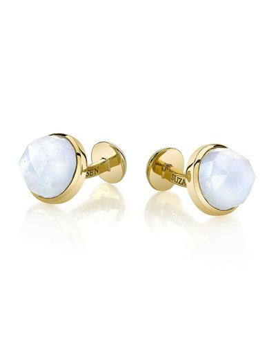 Round Rose-Cut Moonstone Cuff Links