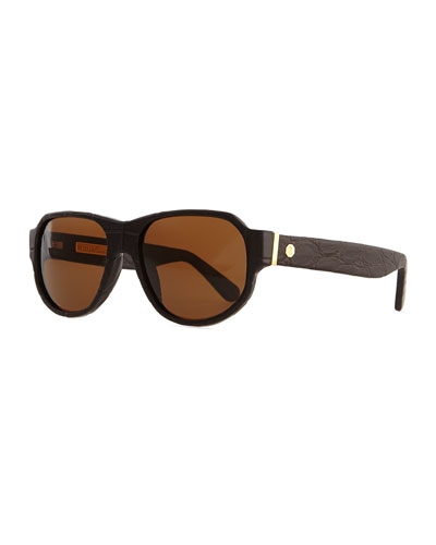 Sunglasses with Crocodile Arms, Brown