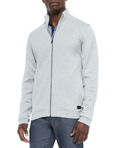 Quilted Full-Zip Sweatshirt, Dark Gray