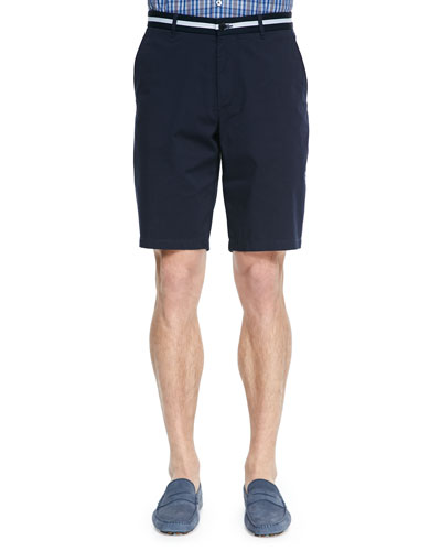 Fine Gabardine Knit Shorts, Navy