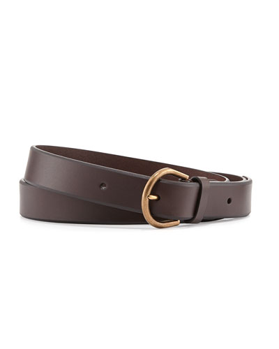 Leather Belt with Brass Buckle, Brown