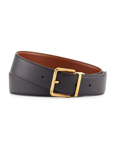 Leather Belt with Roller Buckle, Navy