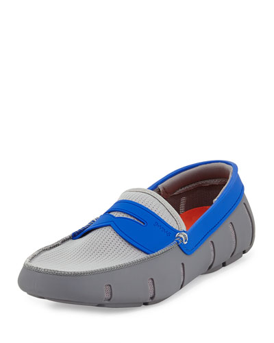 Mesh and Rubber Penny Loafer, Gray/Navy