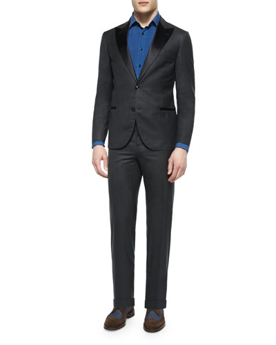 Peak-Lapel Wool Tuxedo, Dark Gray
