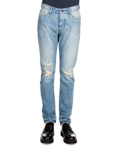 Distressed Denim Jeans, Light Blue