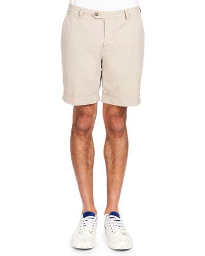 Flat-Front Bermuda Shorts, Beige