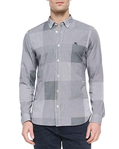 Gingham Jacquard Long-Sleeve Sport Shirt, Dark Indigo