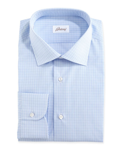 Grid-Check Dress Shirt, Blue