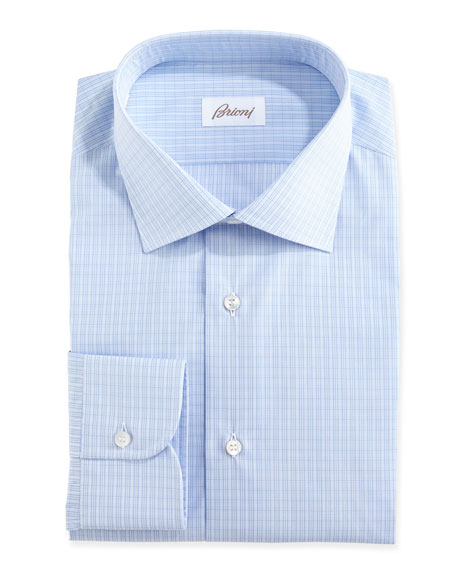 Brioni grid check dress shirt blue for Blue check dress shirt