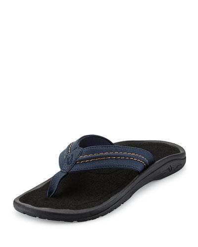 Hokua Trench Thong Sandal, Blue/Black