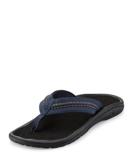 OlukaiHokua Trench Thong Sandal, Blue/Black
