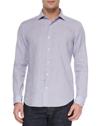 Diamond-Print Linen Shirt, Light Blue
