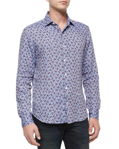 Rose-Print Linen Long-Sleeve Sport Shirt, Blue