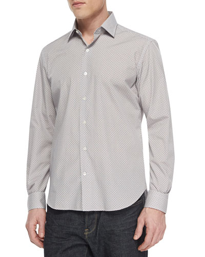 Diamond-Print Long-Sleeve Shirt, Red/Navy
