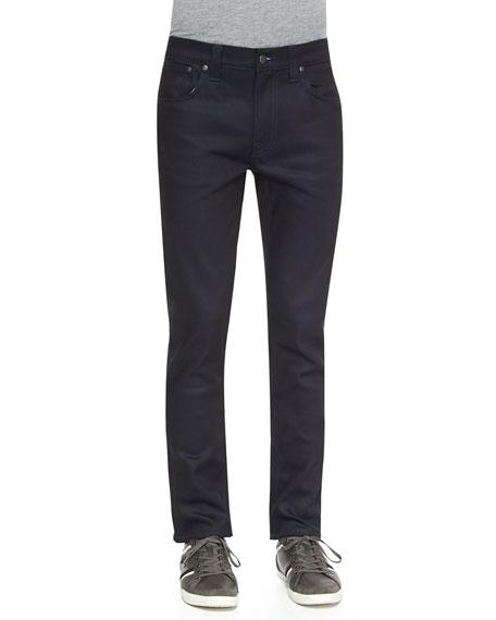 Nudie Thin Finn Dry Straight-Leg Jeans, Navy