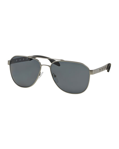Perforated Aviator Sunglasses, Matte Gunmetal