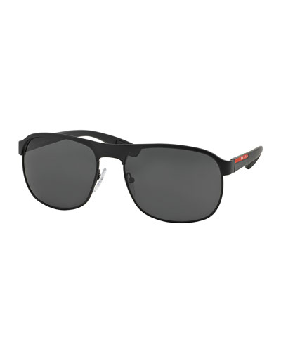 Metal-Rubber Modified Aviator Sunglasses, Black