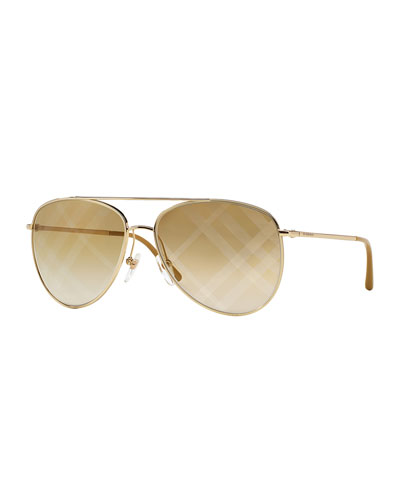 Check-Lens Aviator Sunglasses, Golden