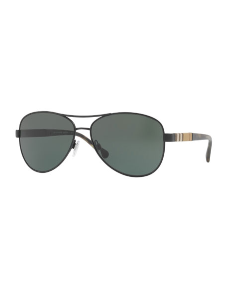 Burberry Check-Temple Aviator Sunglasses, Black