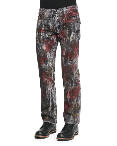 Parachute Pocket Denim Jeans, Red/Black Tie Dye