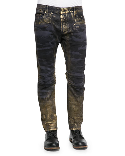 Camo Gold Dusting Moto Jeans, Blue