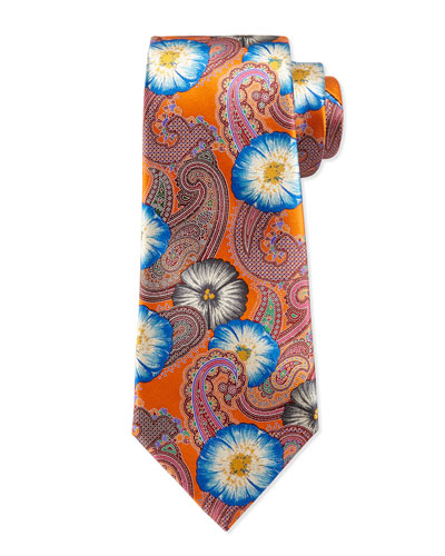 Quindici Hawaiian Punch Silk Tie, Orange