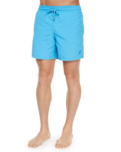 Moorea Solid Swim Trunks, Turquoise