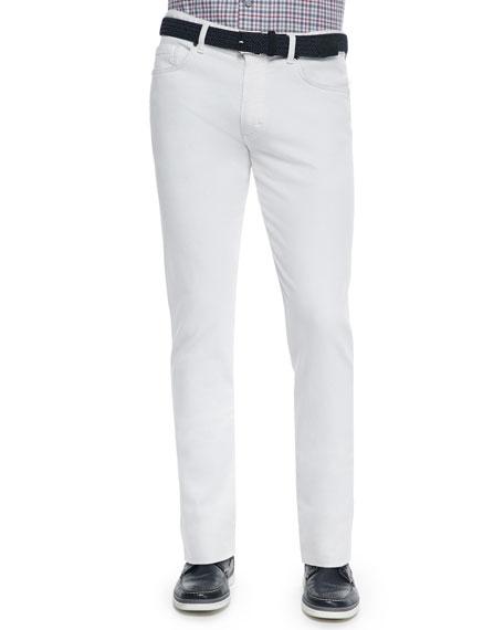 Ermenegildo Zegna Slim Fit Five-Pocket Denim Jeans, White
